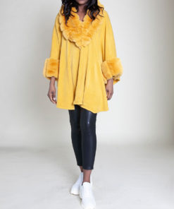 FAUX FUR LINED YELLOW PONCHO- FRONT