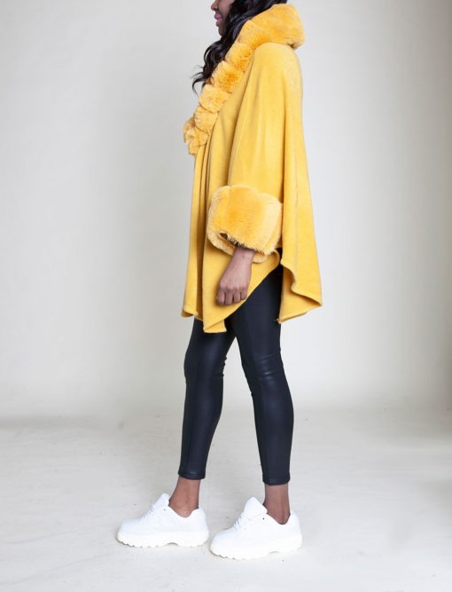 faux fur sleeved yellow poncho- side