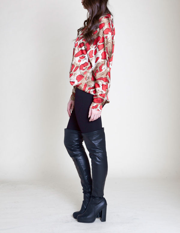 RED SNAKE PRINT BLOUSE- SIDE
