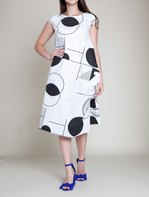 BLACK AND WHITE PRINTED DRESS- FRONT