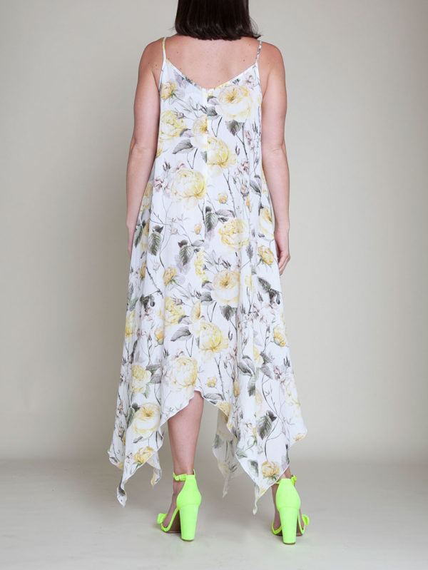 YELLOW PRINTED SLIP DRESS- BACK