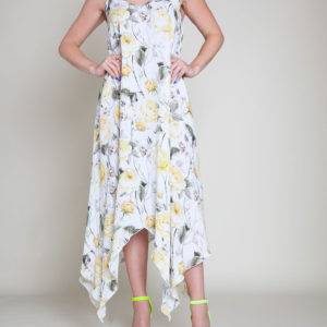 YELLOW PRINTED SLIP DRESS- FRONT