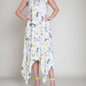 YELLOW PRINTED SLIP DRESS- FRONT