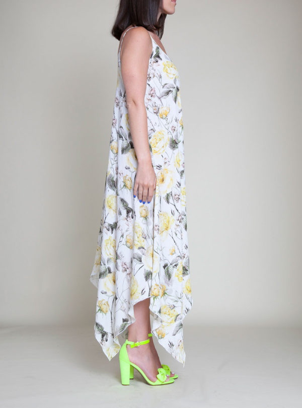 YELLOW PRINTED SLIP DRESS- SIDE