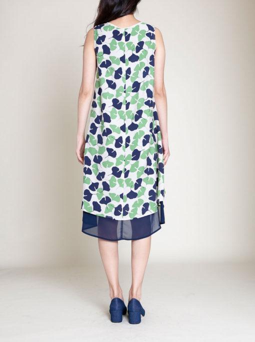 GREEN PRINTED DRESS- BACK