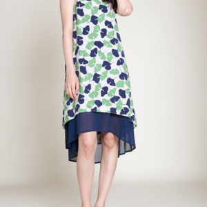 GREEN PRINTED DRESS- FRONT