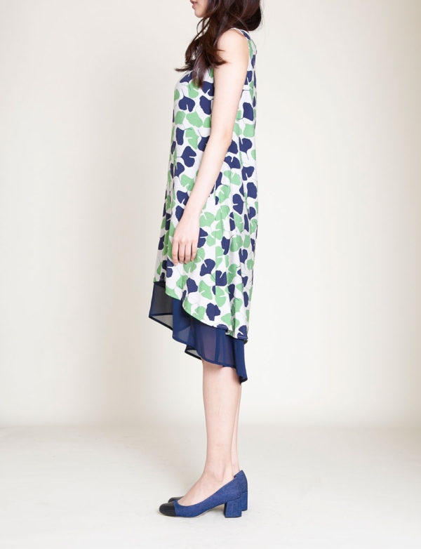 GREEN PRINTED DRESS- SIDE