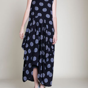 PRINTED BALLOON MAXI DRESS- FRONT