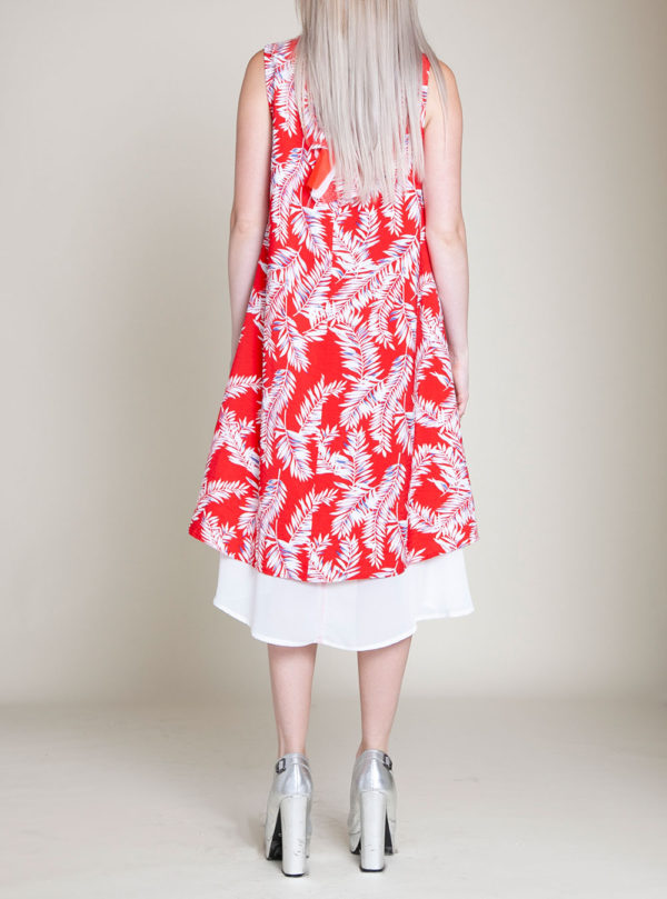 SLEEVELESS PRINTED RED DRESS- BACK
