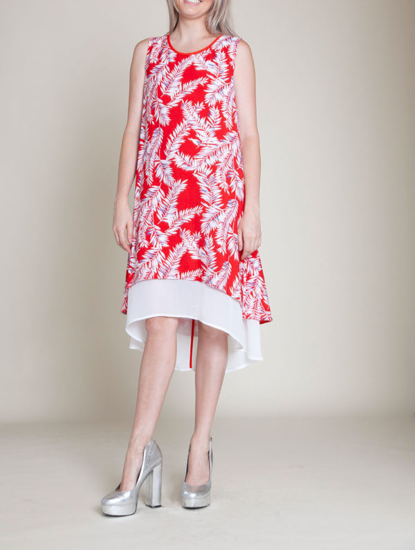 SLEEVELESS PRINTED RED DRESS- FRONT