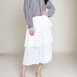WHITE RUFFLE LAYERED SKIRT- FRONT