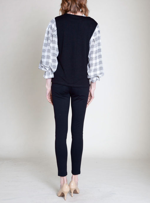 plaid bell sleeve top- back