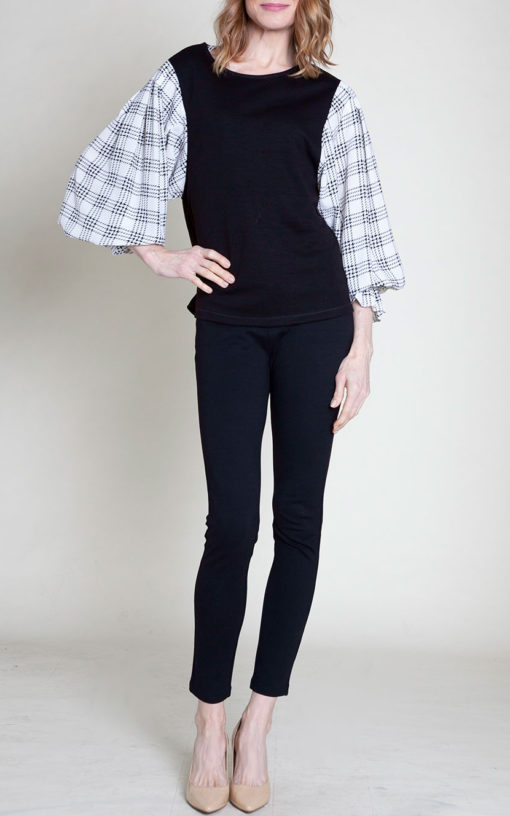 plaid bell sleeve top- front