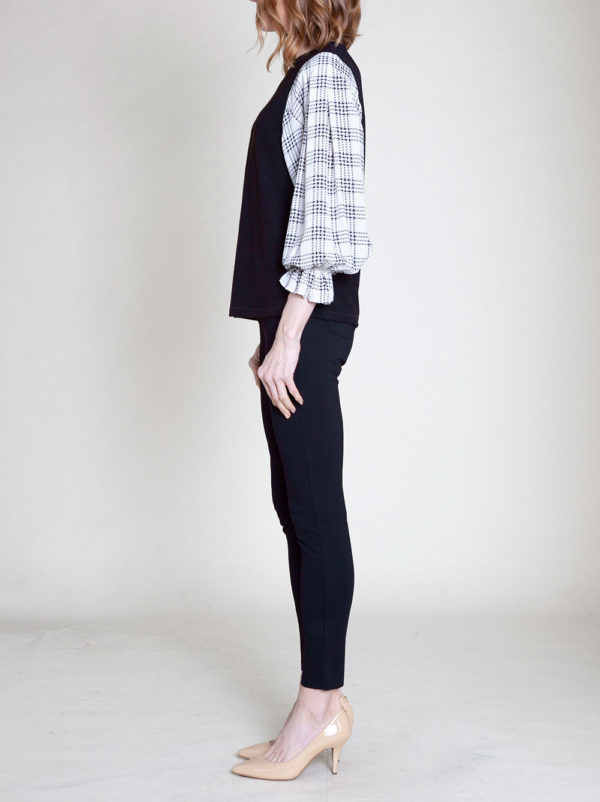 plaid bell sleeve top- side