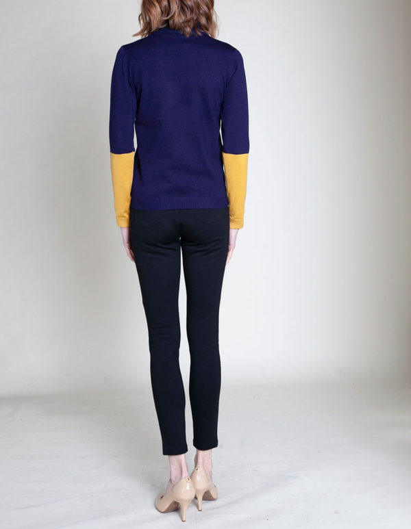COLORBLOCK KNIT NAVY SWEATER- BACK