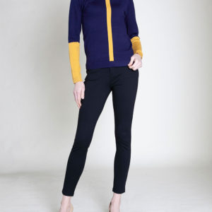 COLORBLOCK KNIT NAVY SWEATER- FRONT