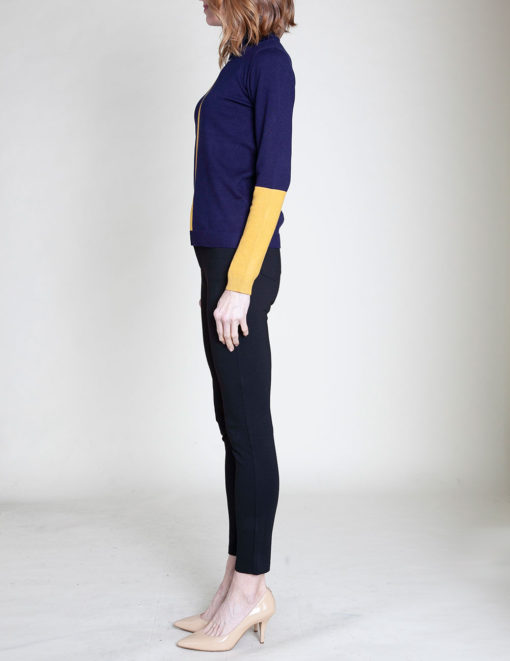 COLORBLOCK KNIT NAVY SWEATER- SIDE