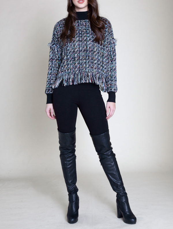 BLUE LONG SLEEVE TWEED TOP- FRONT