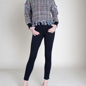 BROWN LONG SLEEVE TWEED TOP- FRONT