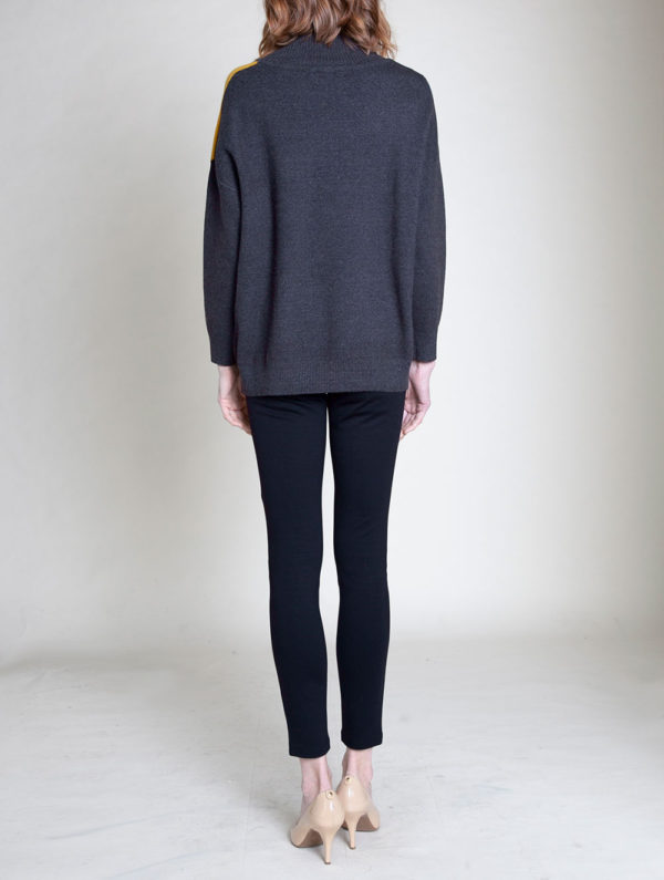 grey colorblock knit turtleneck sweater- back