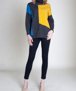 grey colorblock knit turtleneck sweater- front