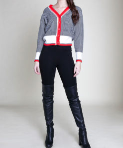 RED STRIPED BUTTON FRONT KNIT CARDIGAN- FRONT