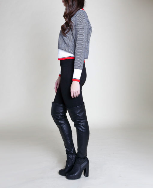 RED STRIPED BUTTON FRONT KNIT CARDIGAN- SIDE