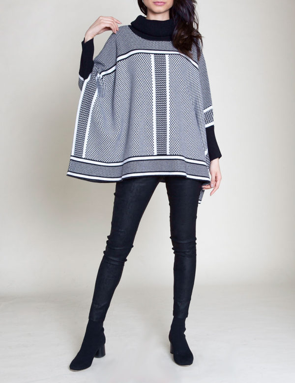 BLACK AND WHITE STRIPED KNIT SWEATER- FRONT
