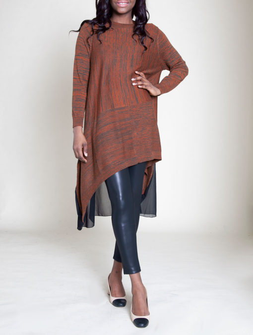 CHIFFON BACK KNIT COFFEE TUNIC TOP- FRONT