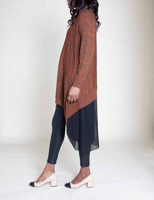 CHIFFON BACK KNIT COFFEE TUNIC TOP- SIDE