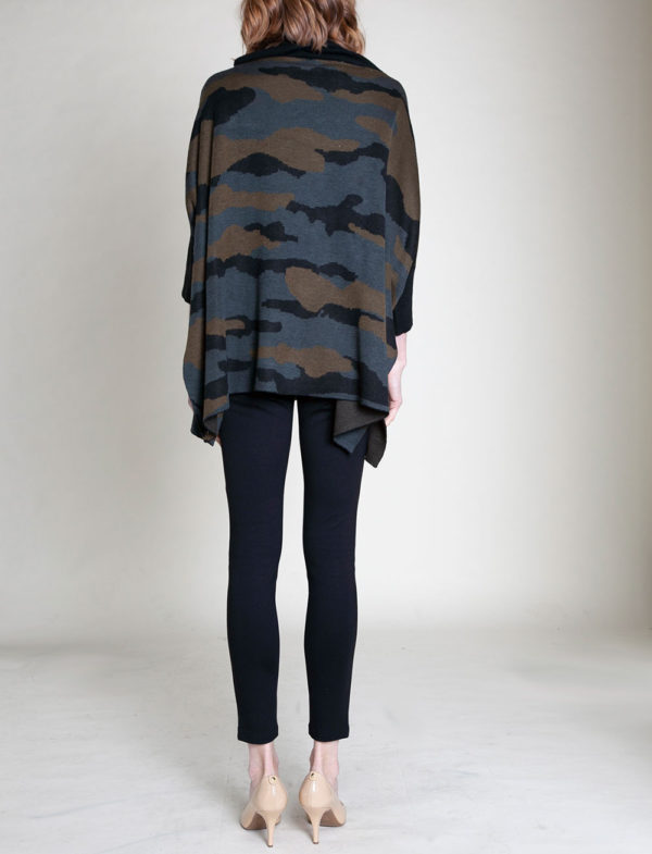 CAMOUFLAGE PRINTED OVERSIZED KNIT SWEATER- BACK
