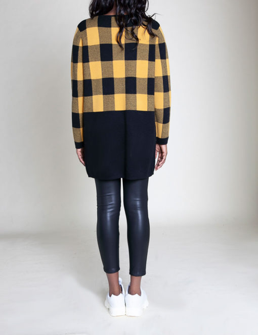 knit colorblock plaid yellow sweater- back