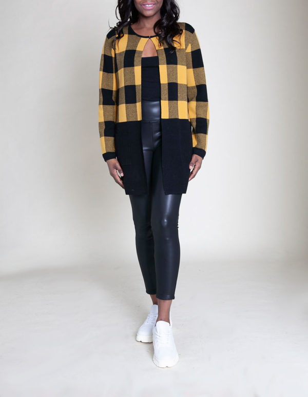 knit colorblock plaid yellow sweater- front
