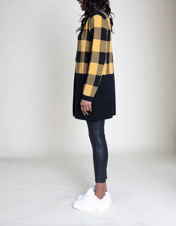 knit colorblock plaid yellow sweater- side