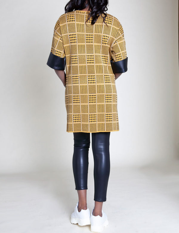 mustard plaid tunic top- back