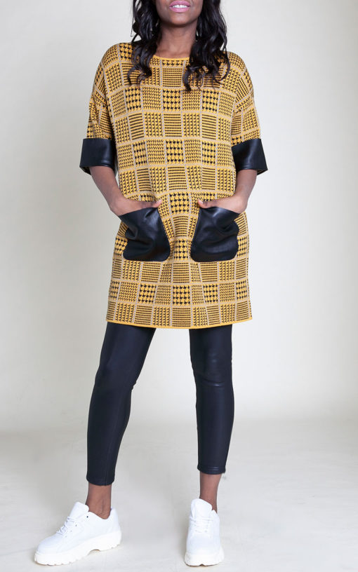 mustard plaid tunic top- front