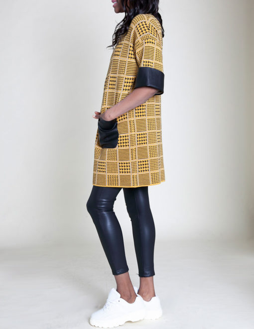 mustard plaid tunic top- side