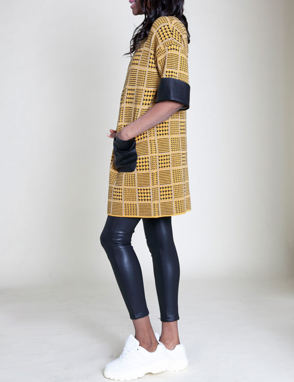 mustard plaid tunic top- side