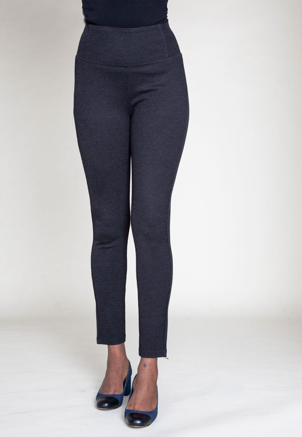 HIGH WAISTED BLACK JEGGINGS- FRONT