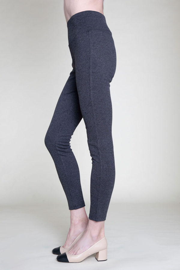 HIGH WAISTED GREY JEGGINGS- SIDE