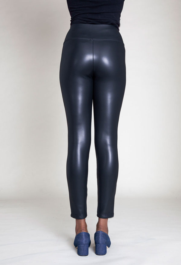 faux leather black jeggings- bacl