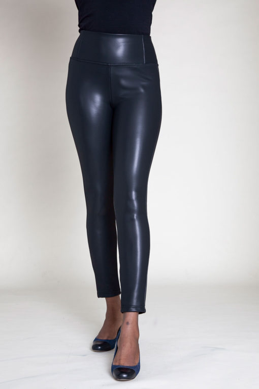 faux leather black jeggings- front