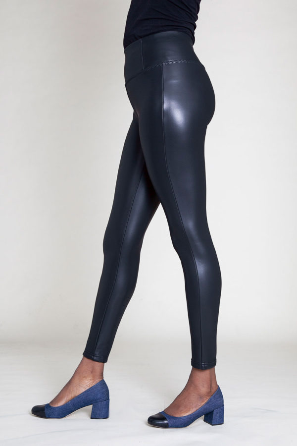 faux leather black jeggings- side