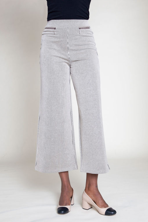 SIDE ZIP BEIGE CULOTTE PANTS- FRONT