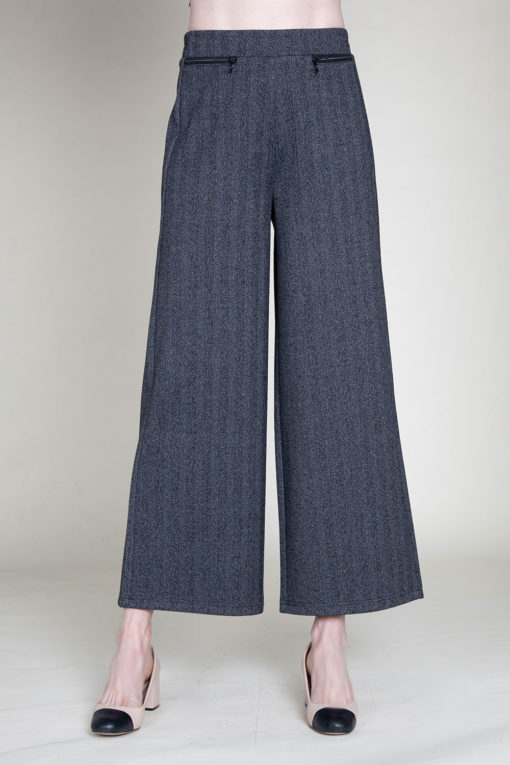 SIDE ZIP CHARCOAL CULOTTE PANTS- FRONT