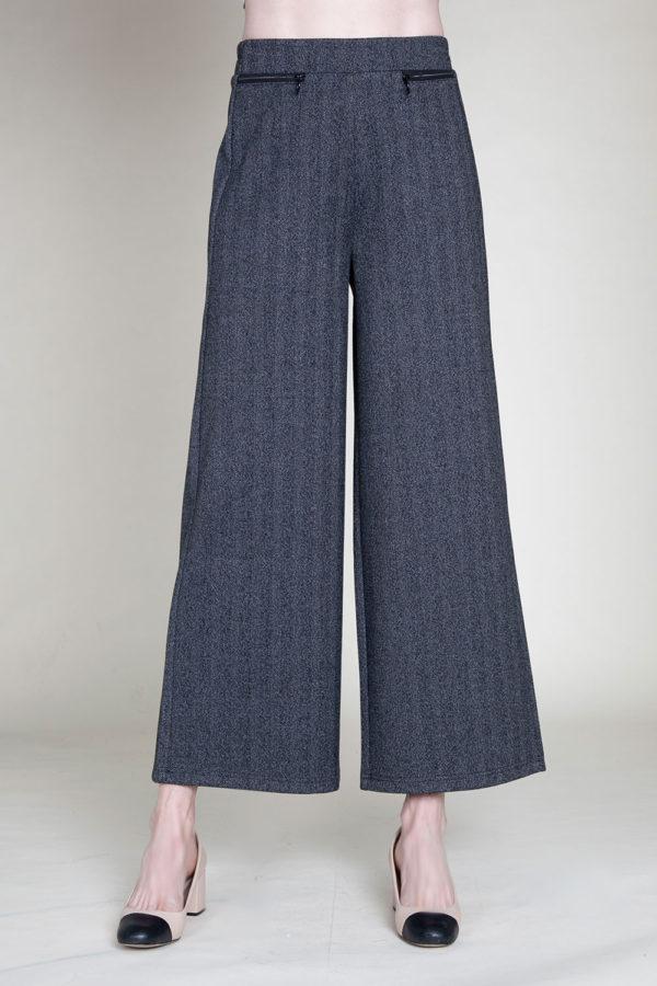 SIDE ZIP CHARCOAL CULOTTE PANTS- FRONT