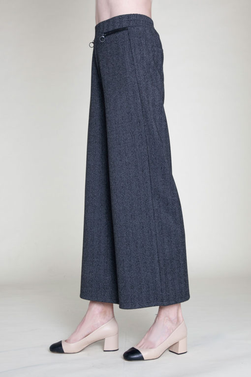 SIDE ZIP CHARCOAL CULOTTE PANTS- SIDE