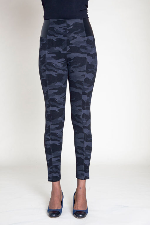 CHARCOAL CAMOUFLAGE PRINTED JEGGINGS- FRONT