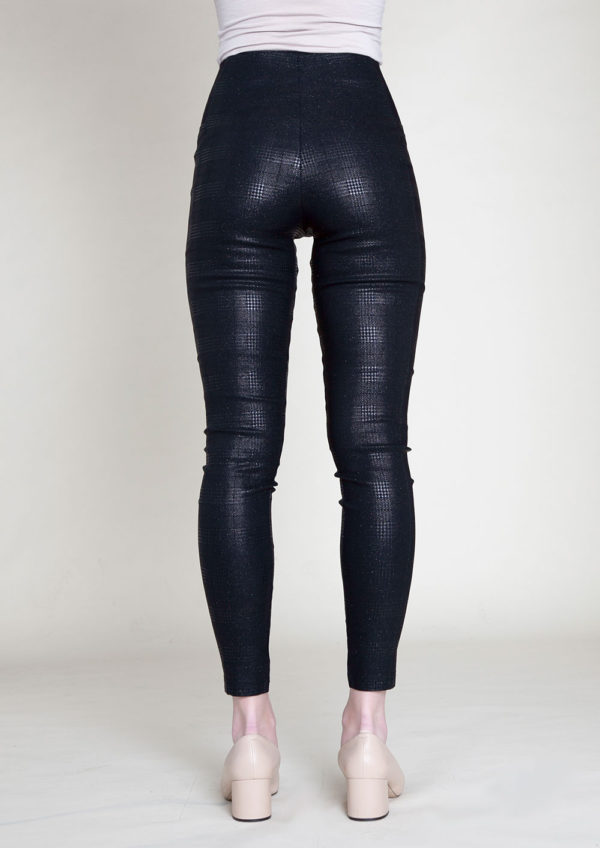 SHINY PRINTED BLACK LEGGINGS- BACK