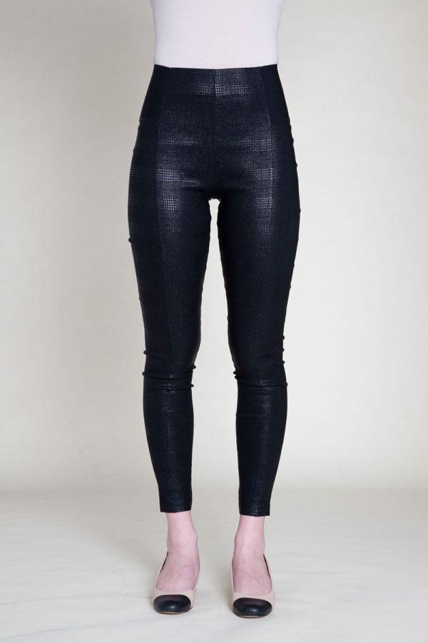 SHINY PRINTED BLACK LEGGINGS- FRONT